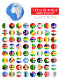 Round Flat Flags of Africa Complete Set Royalty Free Stock Photo