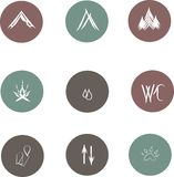 Round flat icons for camping, white lines on cool gray, green, maroon background, hand drawn Royalty Free Stock Photography