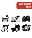 Round  flat icons for various types of bank loan services. Part 5. Stock Image