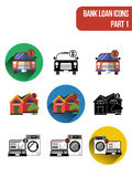 Round  flat icons for various types of bank loan services. Part 1. Round  flat icons for various types of bank loan services, including mortgage loan, auto loan Royalty Free Stock Image
