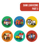 Round  flat icons for various types of bank loan services. Part 3. Round  flat icons for various types of bank loan services, including mortgage loan, auto loan Royalty Free Stock Photos