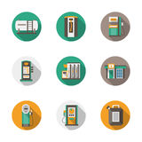 Round flat style gas station icons Stock Photography