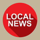Local News. A round flat style illustration of an icon with the text 'Local News Stock Images