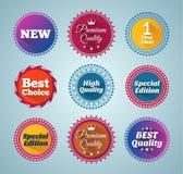 Round flat style promotion badges Stock Photo