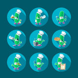 Round flat vector icon set with chef cucumber and kitchenware Royalty Free Stock Photography