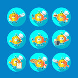 Round flat vector icon set with chef pumpkin and kitchenware Royalty Free Stock Photos