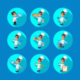 Round flat vector icon set with cook and kitchenware Royalty Free Stock Photography