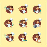 Round flat vector icon set with cook and kitchenware Royalty Free Stock Photos