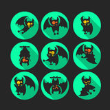 Round flat vector icon set with vampire bat for Halloween. Royalty Free Stock Photo