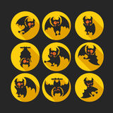 Round flat vector icon set with vampire bat for Halloween. Stock Photo