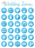 Round Flat Wedding Icons. Set of modern flat round vector icons for organization of wedding party. White silhouette interface icons with long shadows for web or Royalty Free Stock Photography