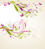 Round floral banner. With butterflies and ornament Royalty Free Stock Photo