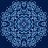 Round floral design blue snowflake Stock Photography