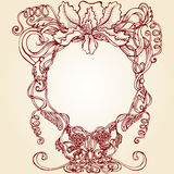 Round floral design frame Stock Photography