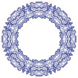 Round floral frame with blue pattern on the grounds of national porcelain painting isolated on white. Vector illustration vector illustration