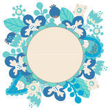 Round floral frame. Floral frame. Cute retro flowers arranged in a shape of the wreath perfect for wedding invitations and birthday cards Royalty Free Stock Photos