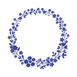 Round floral frame. Flower wreath in vector. royalty free illustration