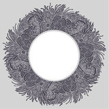 Round floral frame 03. Round gray floral frame on light background Royalty Free Stock Images