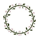 Round floral frame with green branches and leaves and red roses silhouettes vector illustration