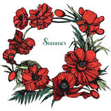 Round floral frame made with poppies Royalty Free Stock Image