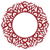 Round floral frame. Round ornamental frame isolated on white Royalty Free Stock Photo