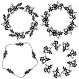 Round floral frame set, black leaves on white background. Vector Stock Images
