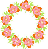 Round floral frame with spring flowers Royalty Free Stock Image