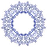 Round floral frame in the style of ethnic mandala painting on porcelain. Stylisation by Russian gzhel style. Royalty Free Stock Image