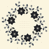 Round floral frame with stylish flowers, leaves and stars Royalty Free Stock Photography