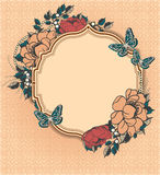 Round floral frame template Stock Images