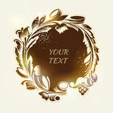 Round floral frame in vintage style. Vector Stock Photos