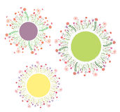 Round floral frames set Royalty Free Stock Photos