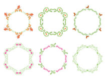 Round floral frames - set - vector Royalty Free Stock Images