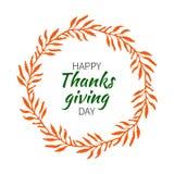 Round floral frames. Thanksgiving round label with orange leaves. Vector illustration stock illustration