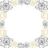 Round floral garland with yellow narcissus vector illustration