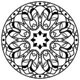 Round floral mandala isolated on white background. Kaleidoscope floral design element. Vector. Round floral mandala isolated on white background. Kaleidoscope Royalty Free Stock Photography