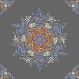 Round Floral Ornament on Dark Background. Template of Decorative Frame. Vector Vintage Seamless Pattern.  stock illustration