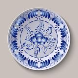 Round floral ornament Gzhel style. Pattern shown on the ceramic plate. Round floral ornament Gzhel style. Design element. Pattern shown on the ceramic plate Royalty Free Illustration