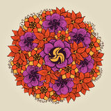 Round floral ornament like bouquet of flowers Royalty Free Stock Image