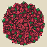 Round floral ornament like bouquet of red flowers Royalty Free Stock Photography