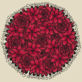 Round floral ornament like bouquet of red flowers Stock Photo