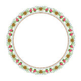 Round floral ornament on a white background Stock Images
