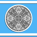 Round floral pattern on blue background Royalty Free Stock Images
