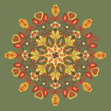 Round floral  pattern. flowers and leaves Stock Images