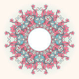 Round pattern with pink flowers Royalty Free Stock Image