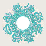 Round pattern with turquoise leafs Stock Photos