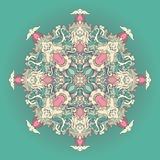 Round turquoise floral pattern Royalty Free Stock Photo