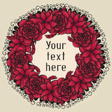 Round floral wreath like bouquet of red flowers in. Tattoo style, rose and lily, vector illustration Stock Photo