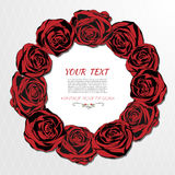 Round floral wreath like bouquet of red roses Stock Photo