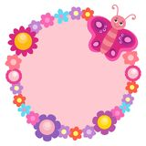 Round flower frame with butterfly 1 Royalty Free Stock Image